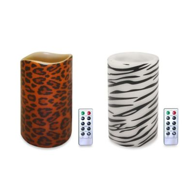 Flameless Candle with Remote Control in Zebra Print