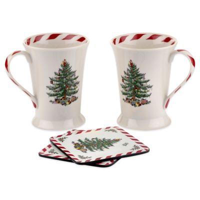 Spode® Christmas Tree 10 oz. Peppermint Mug Set of 2