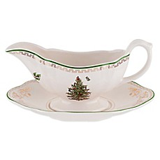 Spode® Christmas Tree Gold Gravy Boat and Stand