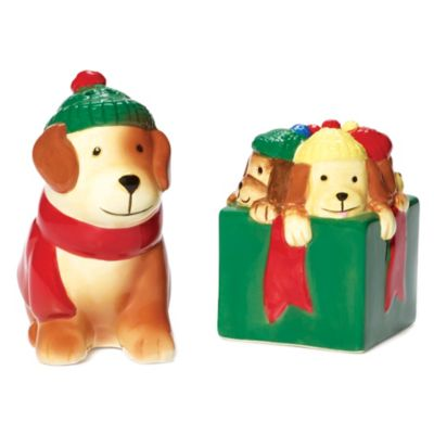 Pfaltzgraff® Holiday Puppy and Present Salt & Pepper Set