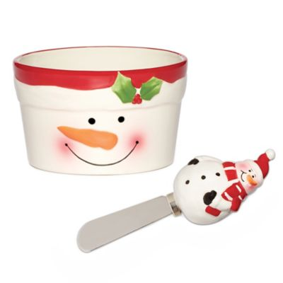 Pfaltzgraff® Holiday Snowman Dip Bowl & Spreader