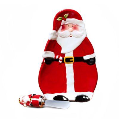 Pfaltzgraff® Santa Tidbit Tray & Spreader