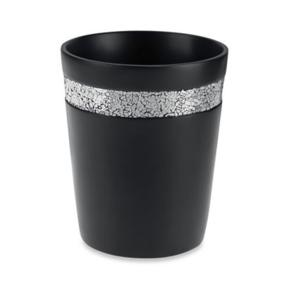 Black Crackle Wastebasket