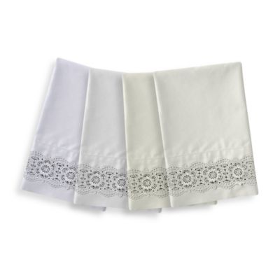 Raymond Waites Marcela Standard Pillowcase Pair in Ivory