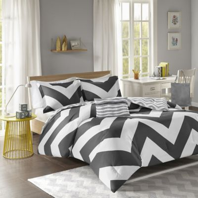 Libra Reversible Chevron Twin XL Comforter Set in Black/White