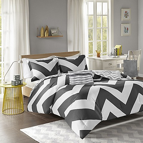 Libra reversible chevron comforter set in black white - Bed bath and beyond bedroom furniture ...
