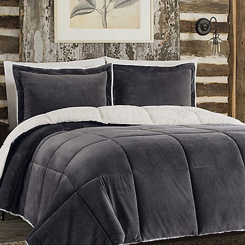 So soft plush reversible comforter set in grey bed bath for Grey velvet comforter