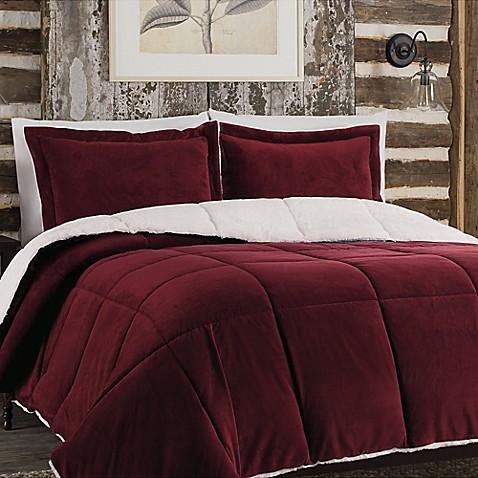 So Soft Plush Reversible Comforter Set In Burgundy Bed
