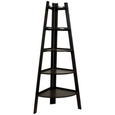 Wood Tiered Corner Ladder Bookshelf Display in Espresso