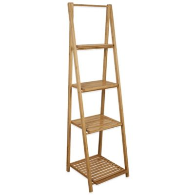 Foldable Bamboo Ladder Shelf