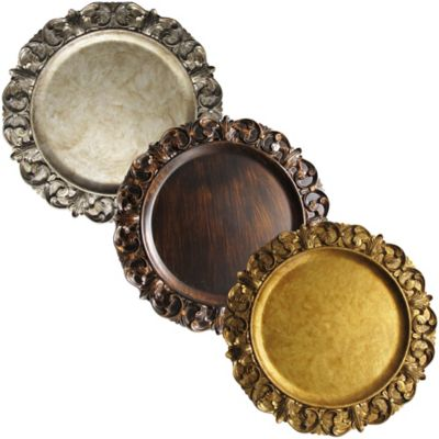 Embossed Charger Plate in Gold (Set of 4)