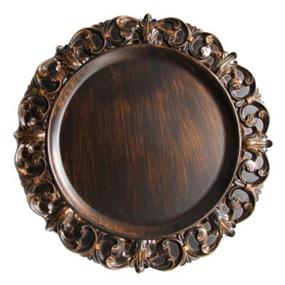 Embossed Charger Plate in Brown (Set of 4)