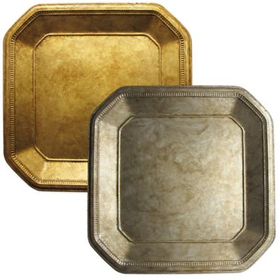 Ancient Square Charger Plate in Gold (Set of 4)