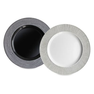 Diamond Charger Plate in Black (Set of 4)