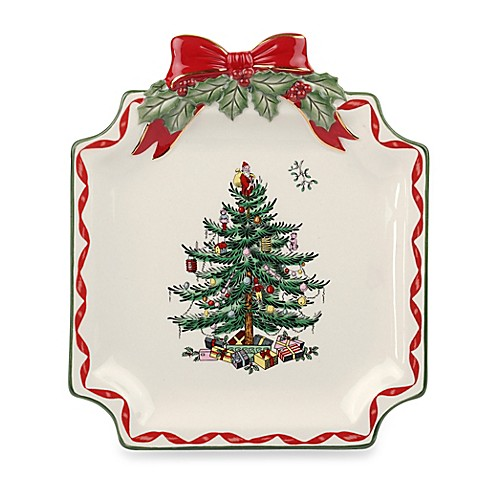 Buy spode christmas tree ribbons canap plate from bed for Christmas canape plates