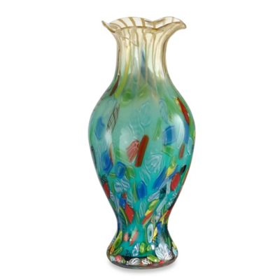 Clear Blue Ruffle Vase