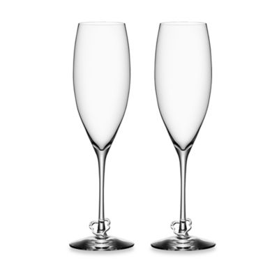 Orrefors Crazy Heart Champagne Toasting Flutes (Set of 2)