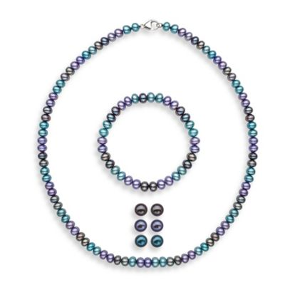 Honora Royale Sterling Silver Dyed Freshwater Cultured Pearl Necklace, Bracelet, and Earring Set