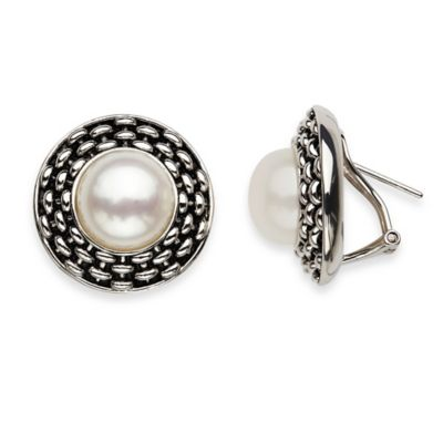 Honora Sterling Silver White Freshwater Cultured Pearl Button Basketweave Post Clip-on Earrings