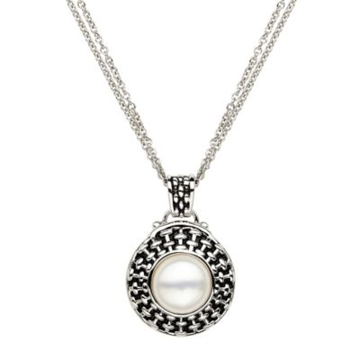 Honora Sterling Silver Freshwater Cultured Pearl 18-Inch Chain Basketweave Button Pendant