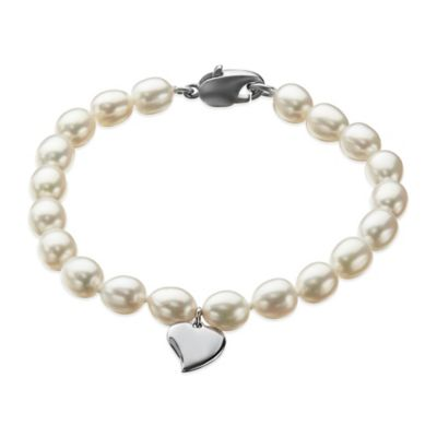 Honora Freshwater Cultured Pearl 6-Inch Bracelet with Sterling Silver Heart Charm