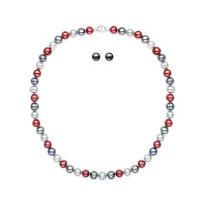 Honora Sterling Silver Cherry/Black/Grey Freshwater Cultured Pearl Necklace and Stud Earring Set