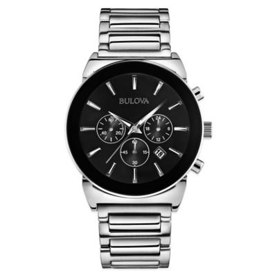 Bulova Classic Collection Men's 40mm Black Dial Chronograph Watch in Stainless Steel