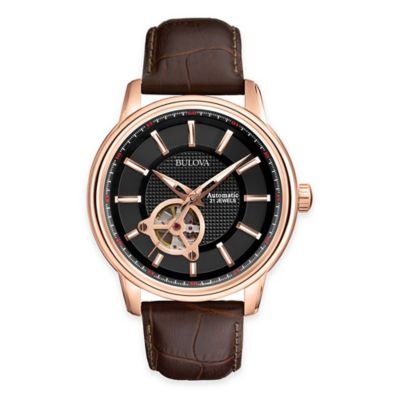 Bulova Automatic Collection Men's 45mm Open Aperture Dial Watch with Brown Embossed Leather Strap
