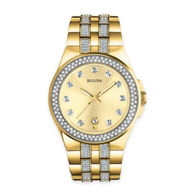 Bulova Crystal Collection Unisex 42mm Watch with Swarovski® Elements in Goldtone Stainless Steel