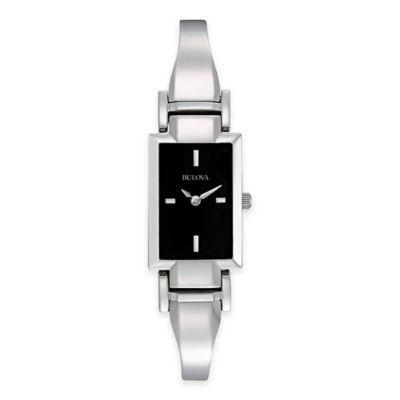 Bulova Dress Collection Ladies 18.2mm Rectangular Watch with Black Dial in Stainless Steel