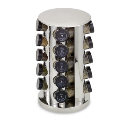 Kamenste in ® Stainless Steel 20-Jar Filled Revolv in g Spice Rack Tower