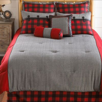 Red Plaid King Comforter Set