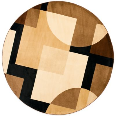 Safavieh Porcello Collection Black and Multi Drake 7-Foot Round Rug
