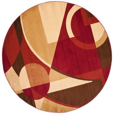 Safavieh Porcello Collection Red / Multi Gannon 7-Foot Round Rug