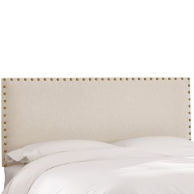 Skyline Furniture King Nail Button Headboard in Linen Talc