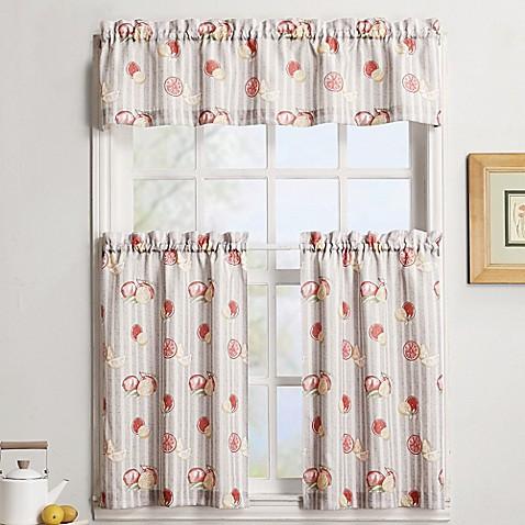fruit stripe window curtain tier pair in grey bed bath