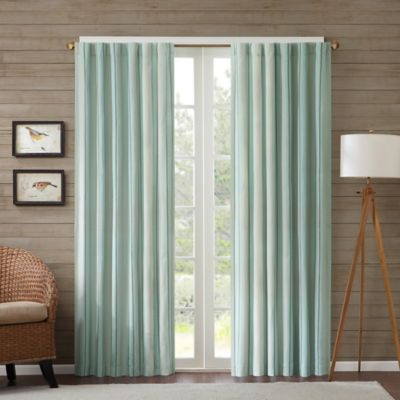 Edgewood Stripe 95-Inch Window Curtain Panel in Navy