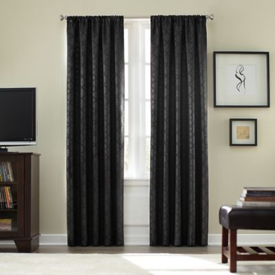 Athena Rod Pocket Blackout 63-Inch Window Curtain Panel in Black