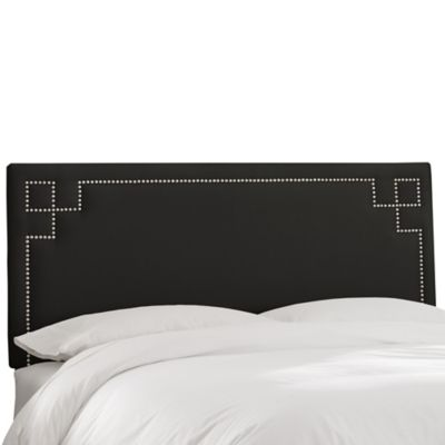 Skyline Furniture Greek Key King Shantung Headboard in Silver