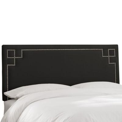 Skyline Furniture Greek Key Queen Shantung Headboard in Black
