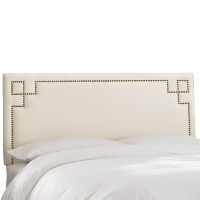Skyline Furniture Greek Key Full Shantung Headboard in Pearl