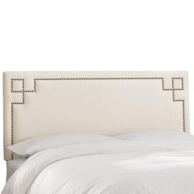 Skyline Furniture Greek Key Queen Shantung Headboard in Pearl