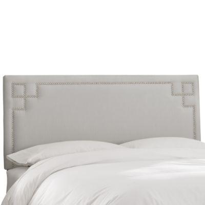 Skyline Furniture Greek Key Twin Shantung Headboard in Silver