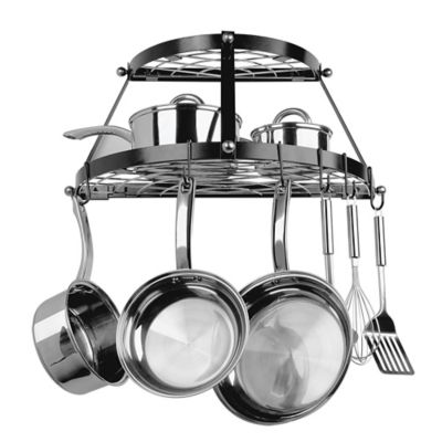 Kitchen Shelf With Pot Rack