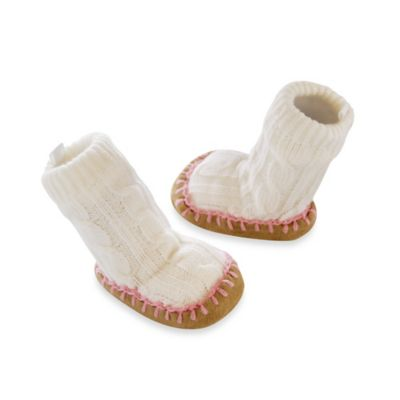Goldbug Size 12-18M Cable Knit Slipper Socks in Ivory