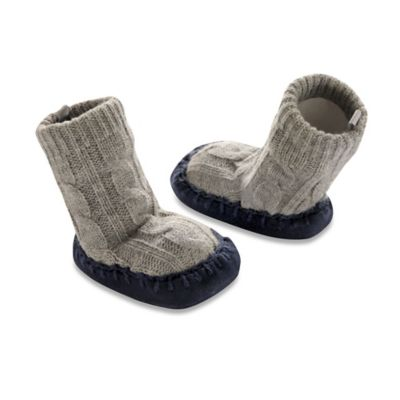 Goldbug Size 0-6M Cable Knit Slipper Socks in Grey