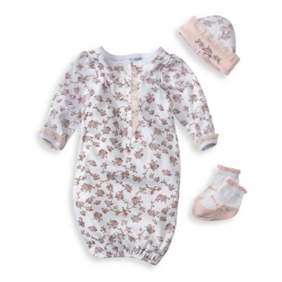 Preemie 3-Piece Gown, Hat, and Socks Set in White Rose