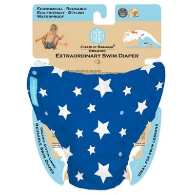Charlie Banana® Size Large Extraordinary Swim Diaper in Blue/White Stars
