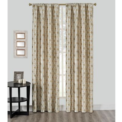 Riga 95-Inch Grommet Window Curtain Panel in Gold