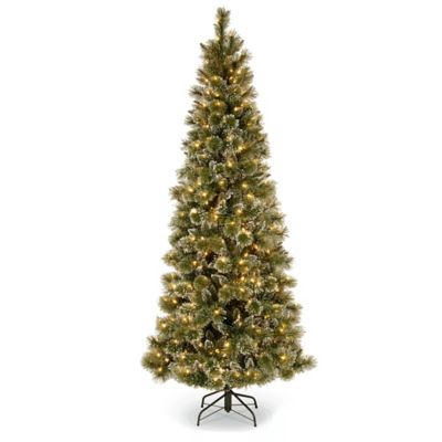 National Tree 7-Foot 6-Inch Glittery Bristle Pine Pre-Lit Christmas Tree with Clear Lights